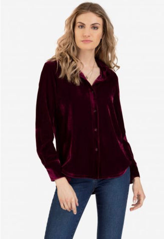STRETCH VELVET BUTTON FRONT