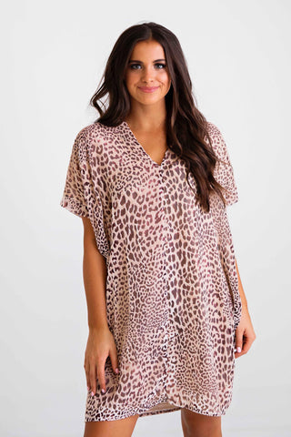 KARLIE LEOPARD BURN-OUT VELVET DRESS- NUDE/BLUSH