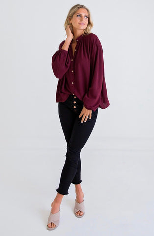 BURGUNDY DOLMAN BUTTON TOP