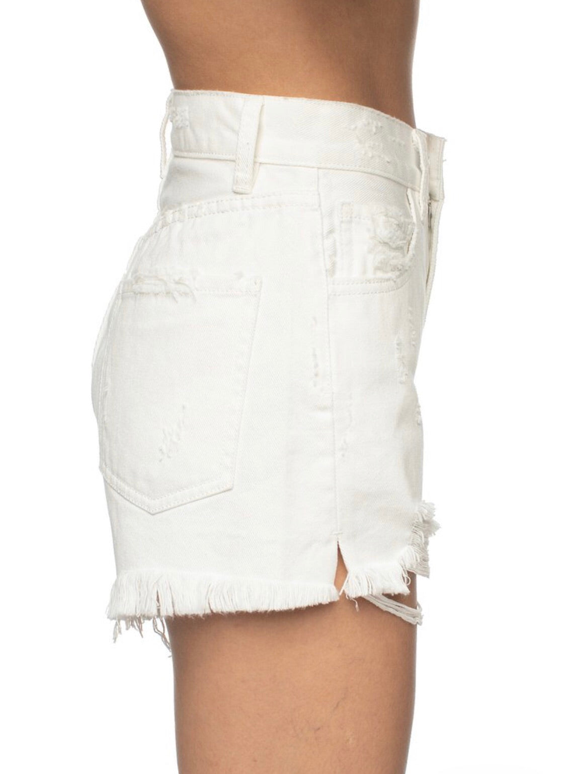 STONE WHITE DISTRESS SHORTS