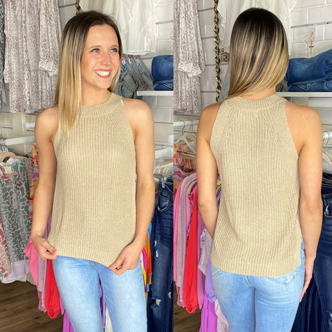 TAUPE HALTER SWEATER TANK