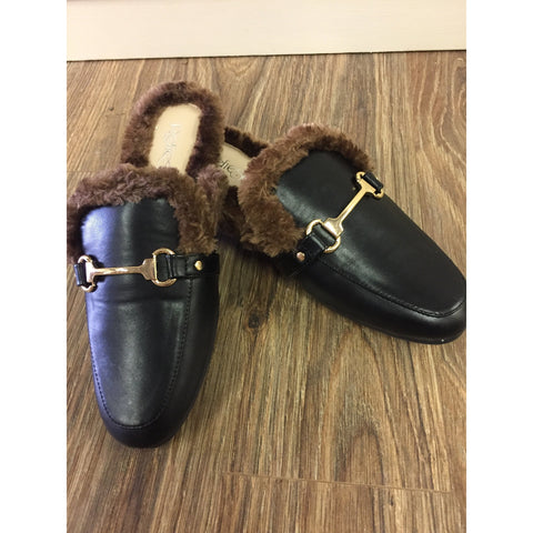 FURRY FAUX LEATHER MULE