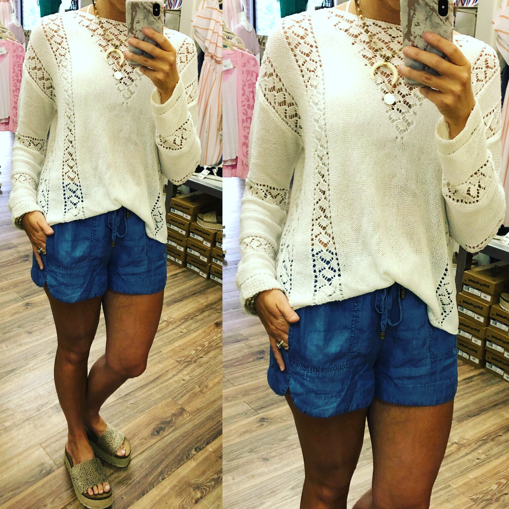 WHT SCALLOPED KNIT