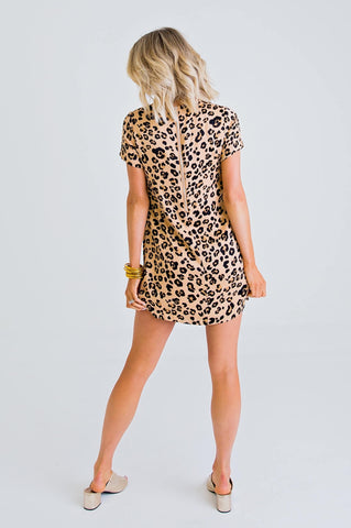 LEOPARD SILK CAP SLV DRESS