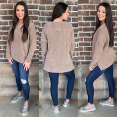 CAMEL SIDE BUTTON SWEATER fjb