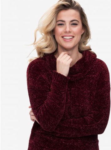 BURGUNDY COWL NK SWEATER