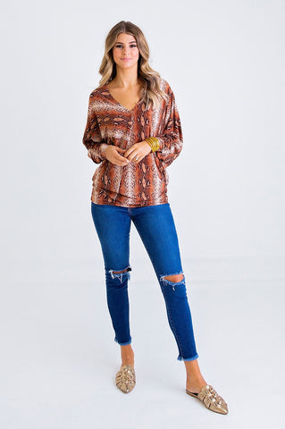 RUST SNAKE VNECK TOP