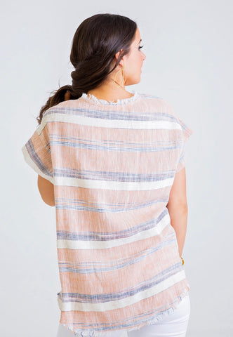STRIPE LINEN POCKET SCOOP