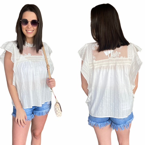 UPTOWN GIRL LACE RUFFLE TOP