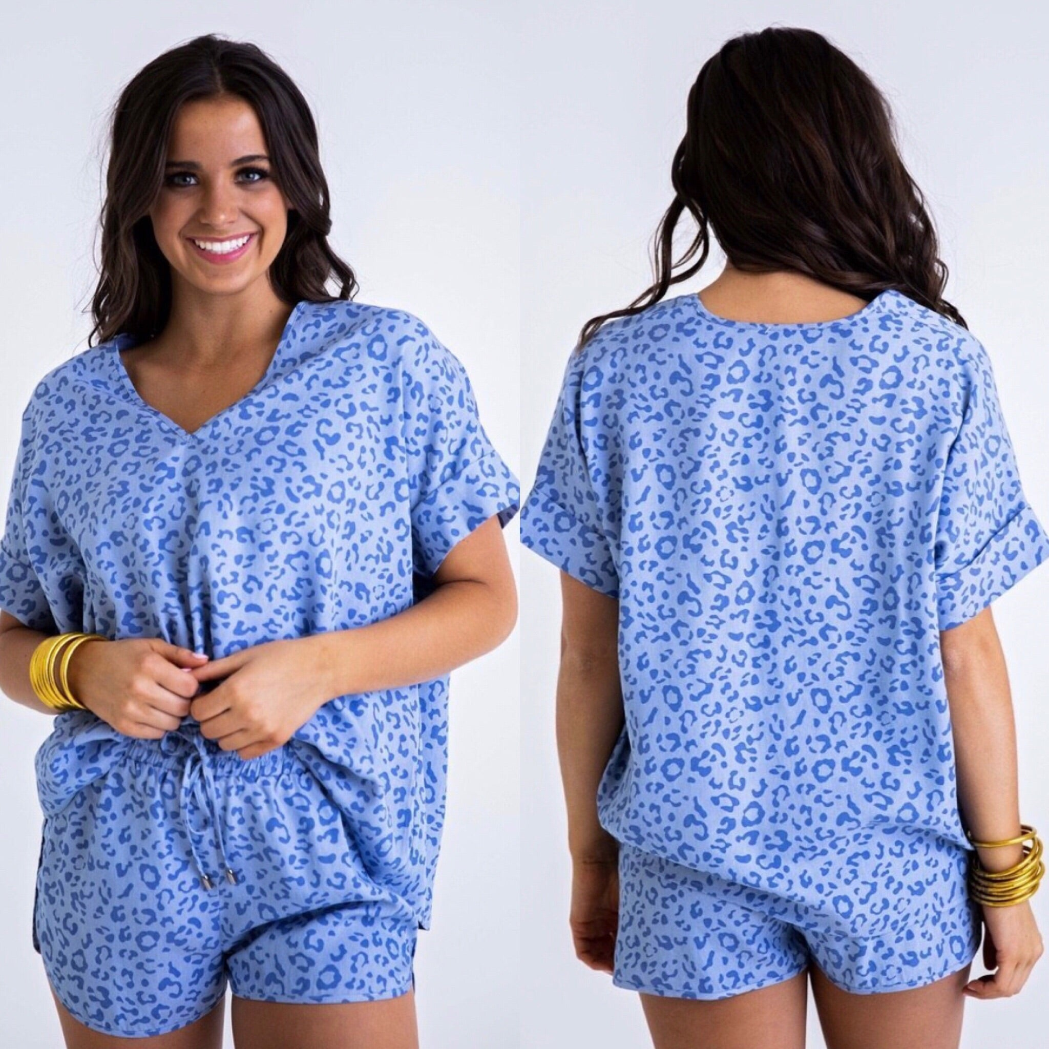 BLUE LEOPARD CHAMBRAY TOP
