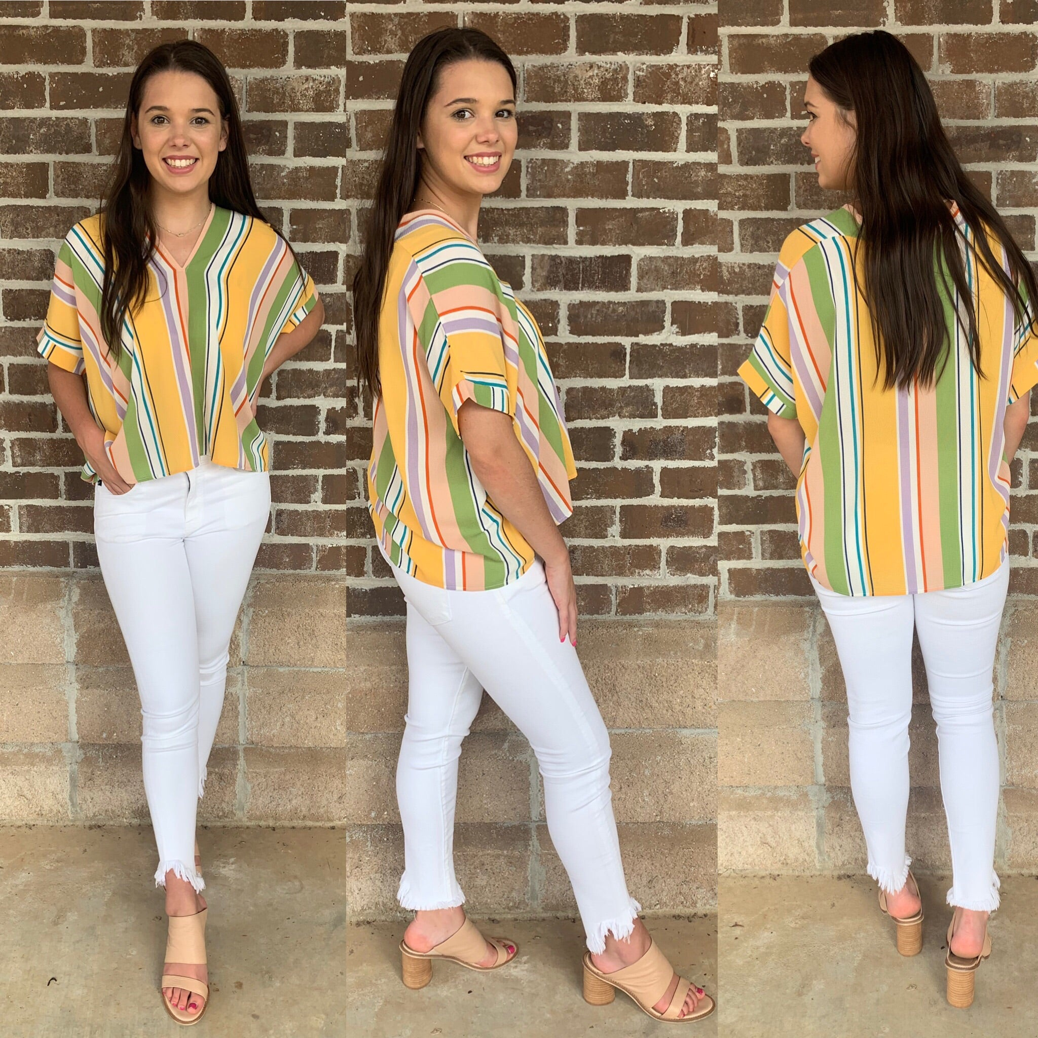 YELLOW MULTI STRIPE VNECK