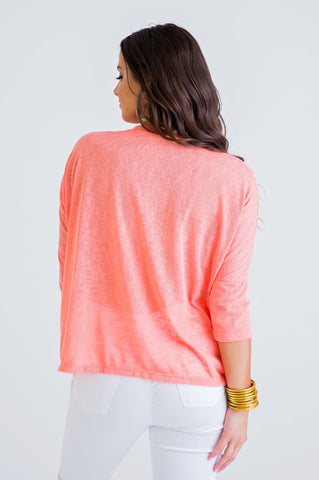 CORAL BURN OUT SCOOP NECK