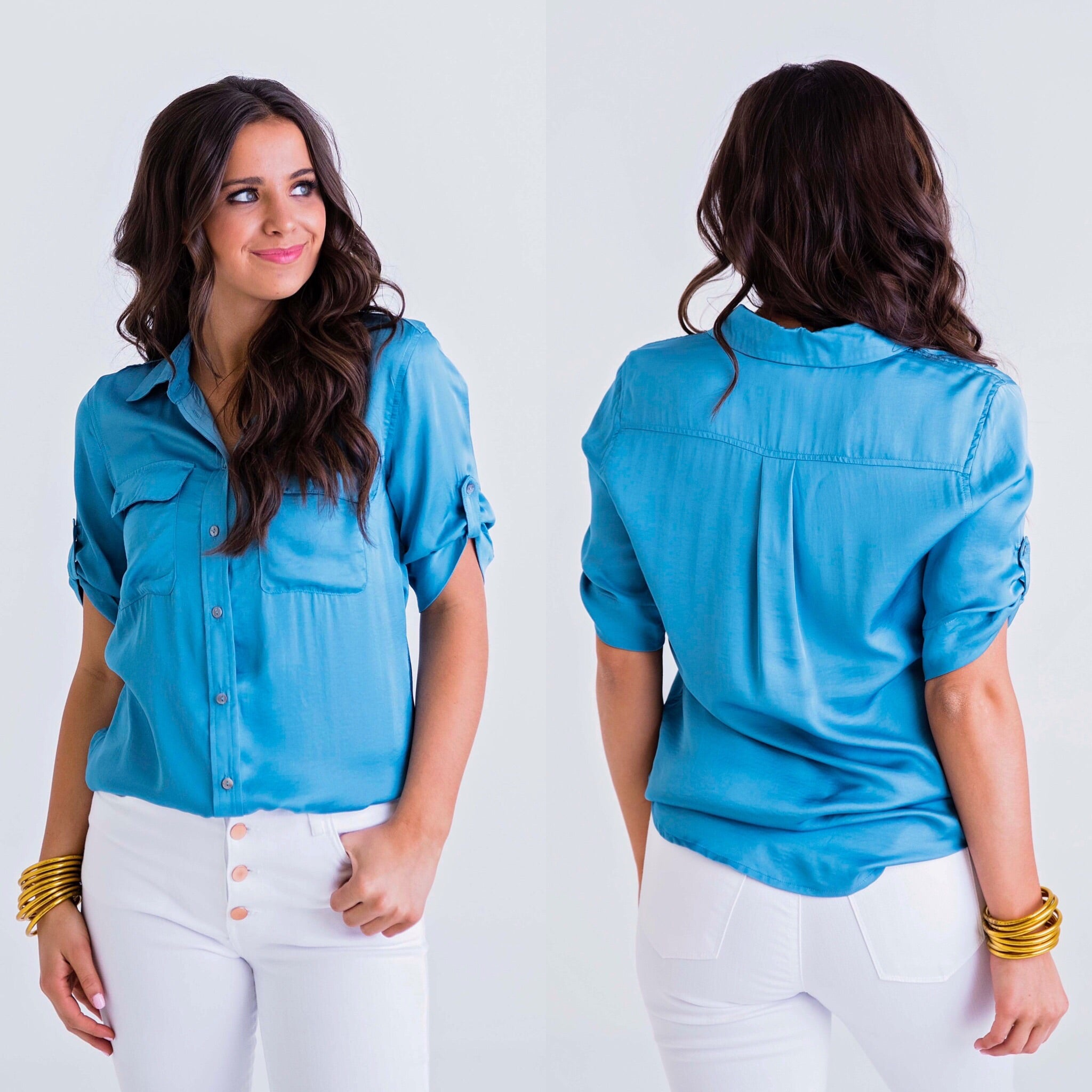 SOLID BUTTON POCKET TOP