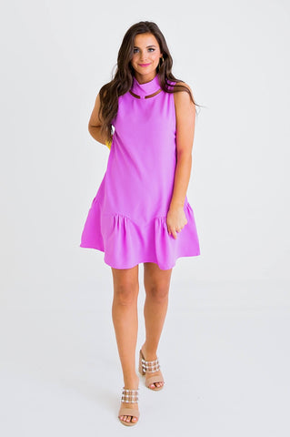 LAVENDER CUT OUT NK RUFFLE DRESS
