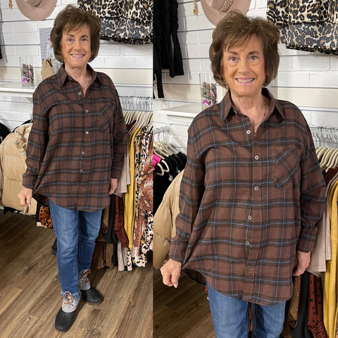 RACHEL PLAID BROWN SHIRT