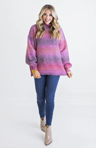 MAUVE BOHO MIX SWEATER