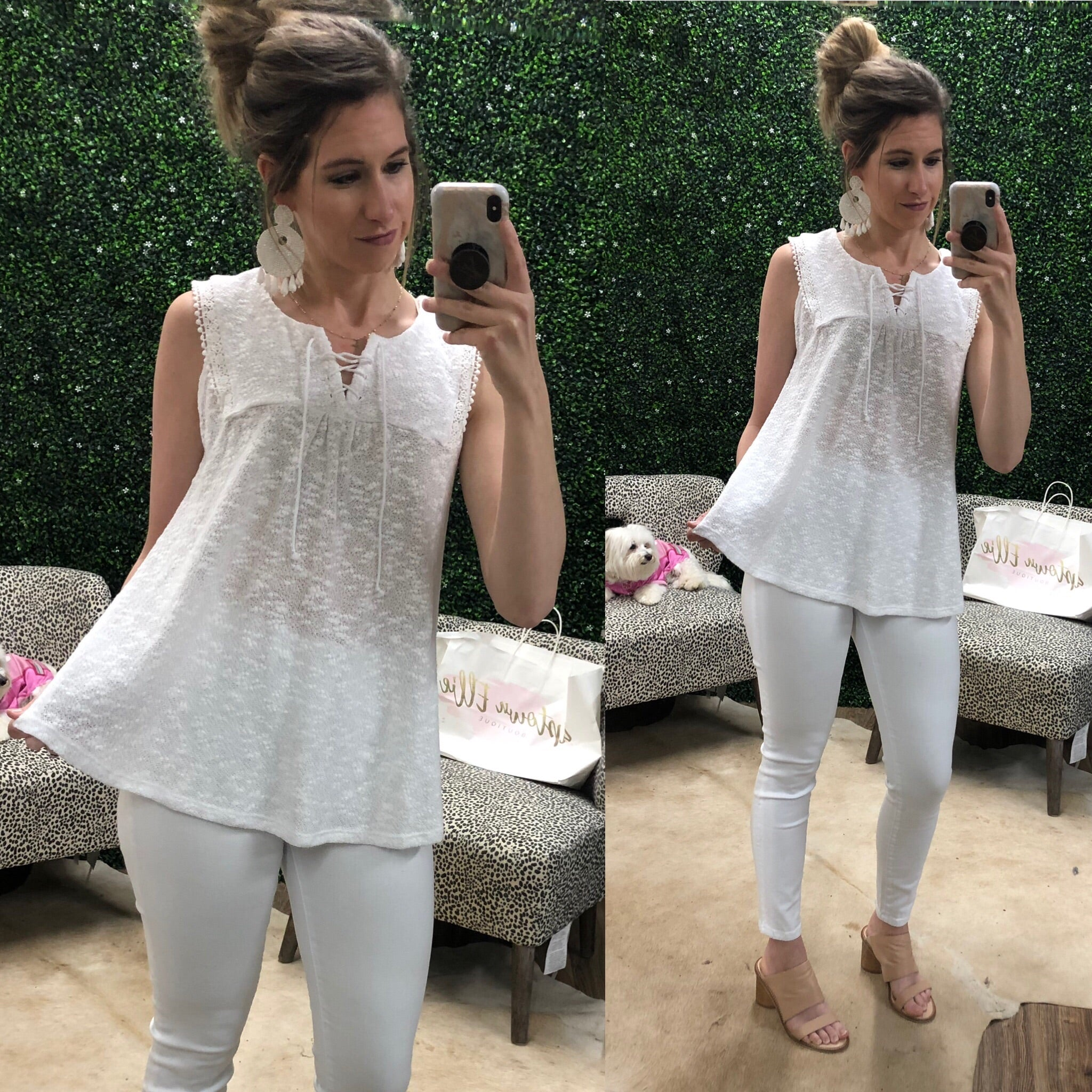WHITE NOVELTY SLVLESS TOP
