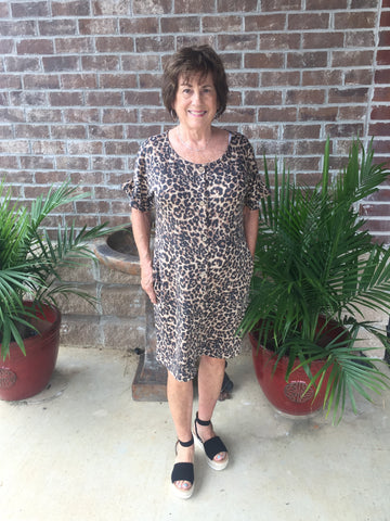 SASSY LEOPARD BUTTON FRONT DRESS