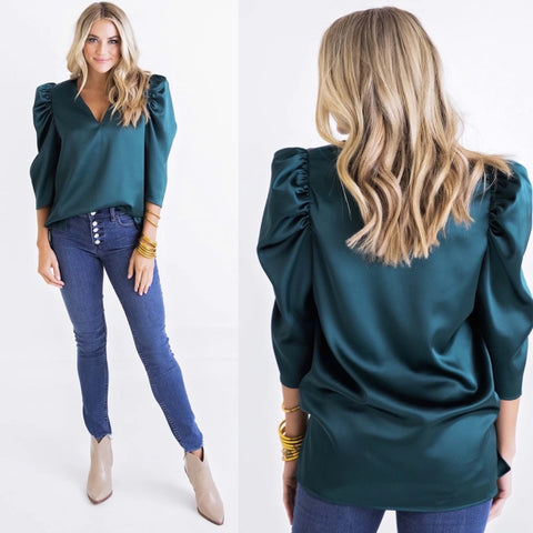 FOREST VNECK PUFF SLV TOP