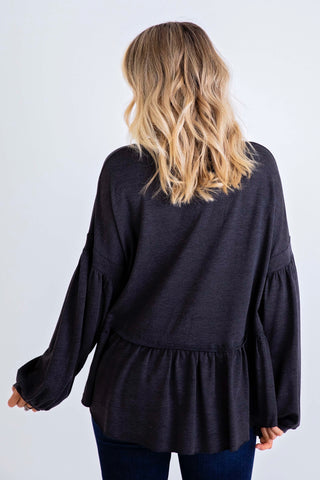CARMEN CHARCOAL RUFFLE TOP