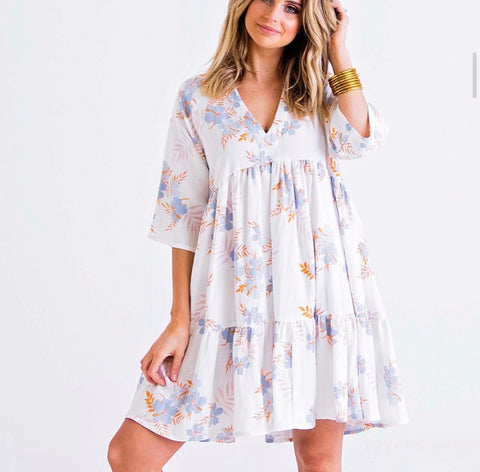 BLUE FLORAL LINEN TIER DRESS