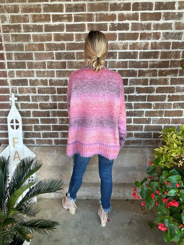 MAUVE MULTI STRIPE SWEATER