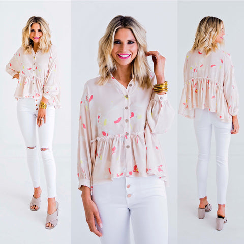 FLORAL BUTTON BOHO TOP