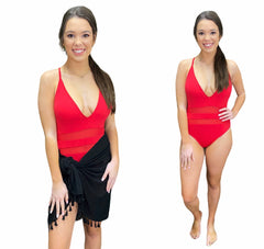 RED MESH ONE PIECE