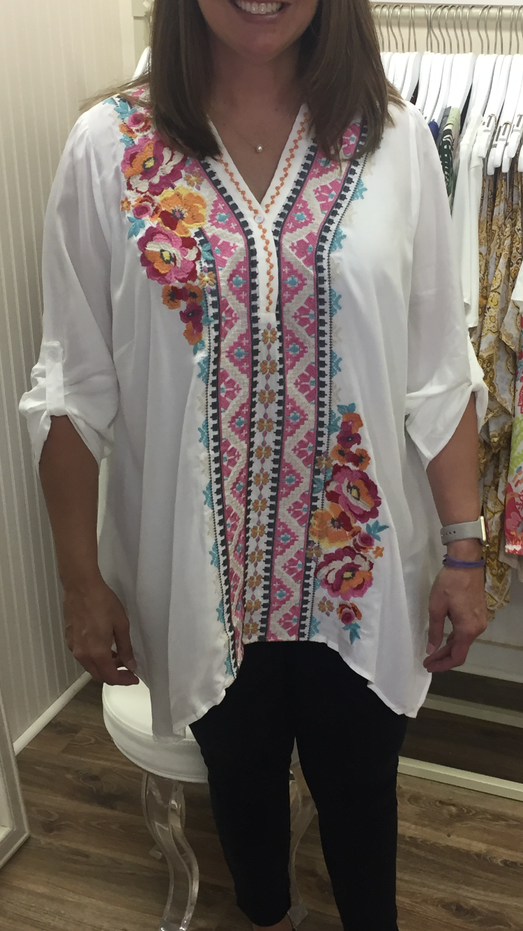 IVORY EMBROIDERED TUNIC