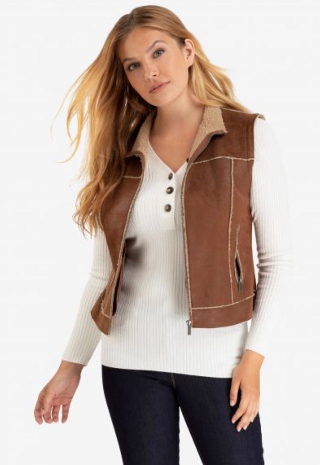 DETACHABLE SLEEVE FAUX-SUEDE JACKET
