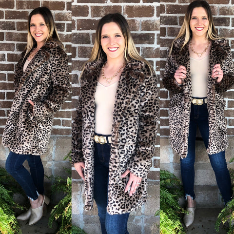 LEOPARD  ROSS FAUX FUR COAT