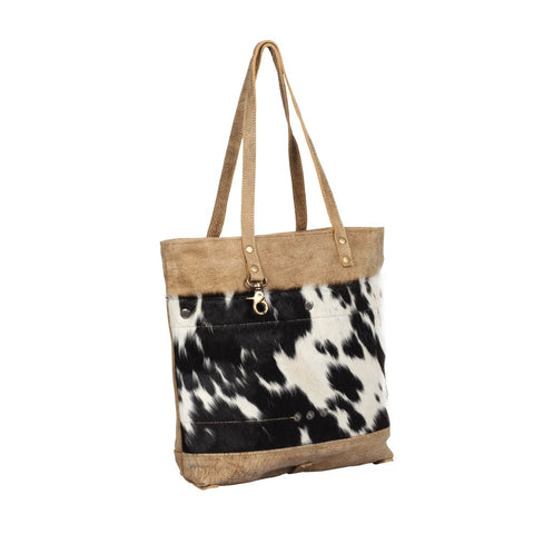 COCOA LEATHER HIDE TOTE