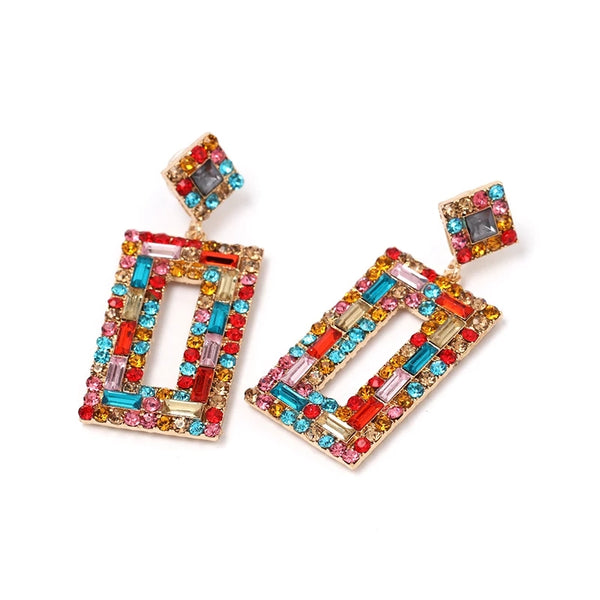 Bejeweled Square Earrings