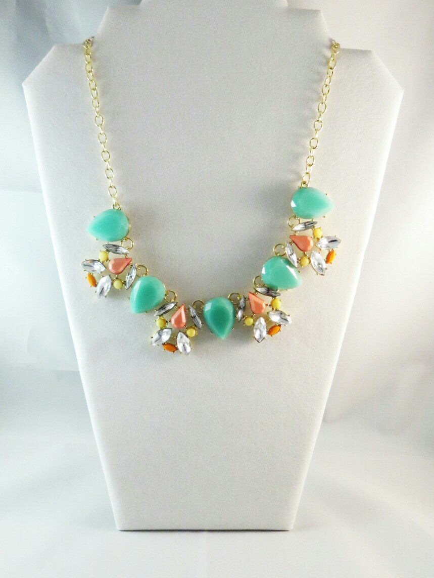 Green Crystal Accents Statement Necklace