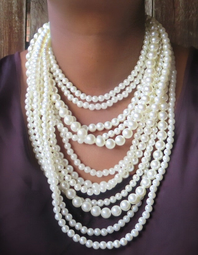 Ultimate Layered Pearls Statement Necklace