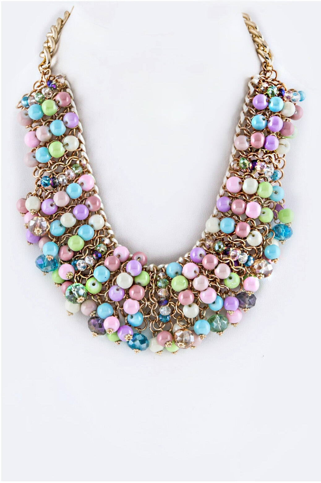 Multi-colored Beaded Statement Necklace (OUT OF STOCK)