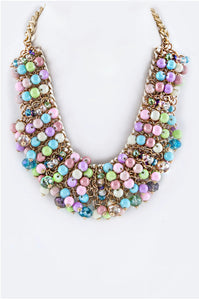 Multi-colored Beaded Statement Necklace