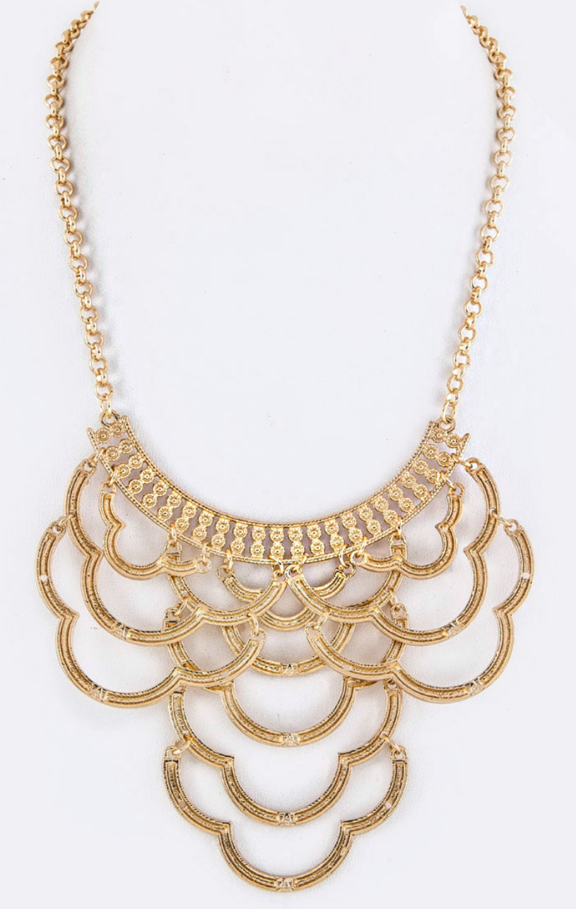 Wavy Bars Statement Necklace