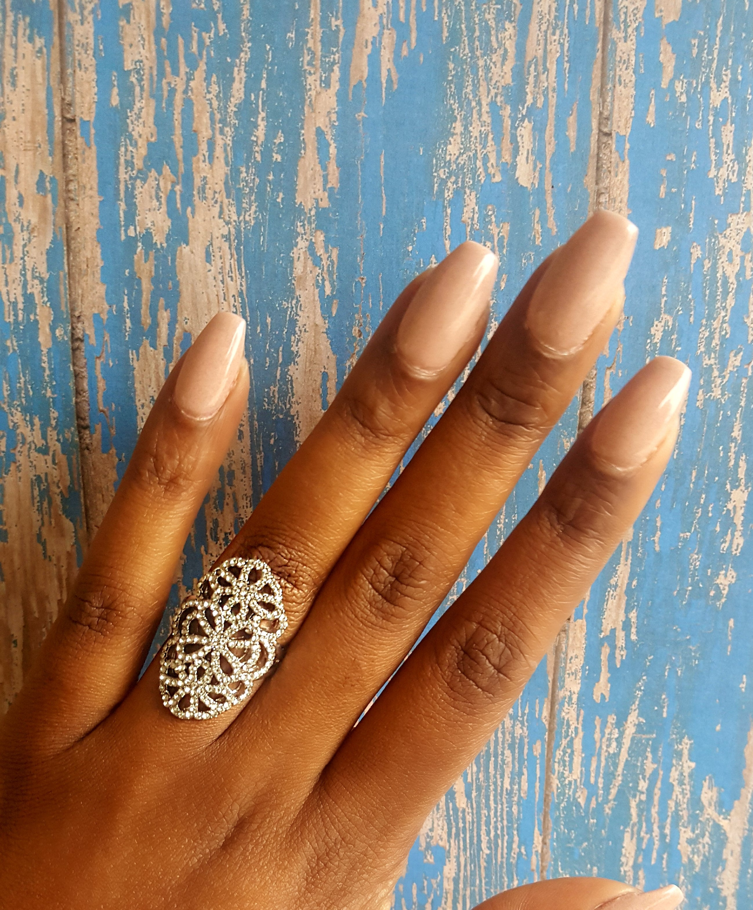 Crystal Floral Cutout Ring (Silver)