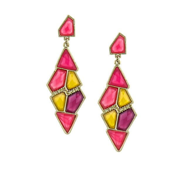 Gem Cluster Earrings (Pink & Yellow)