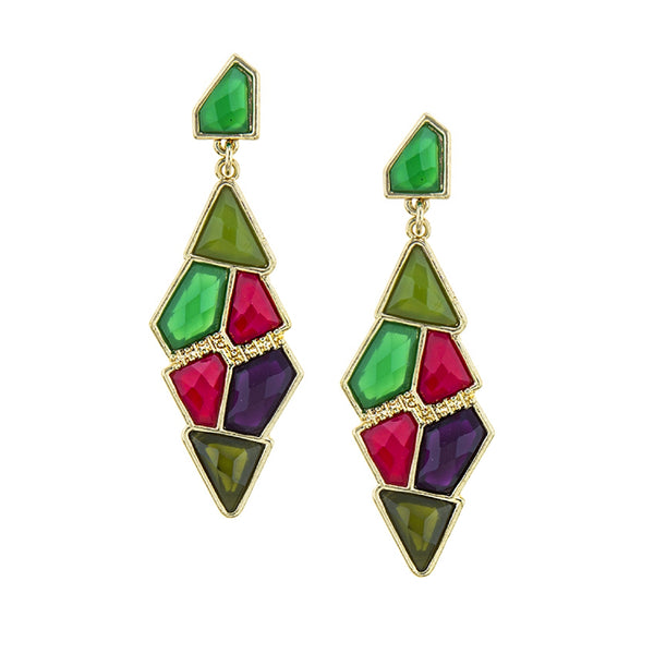Gem Cluster Earrings (Green)