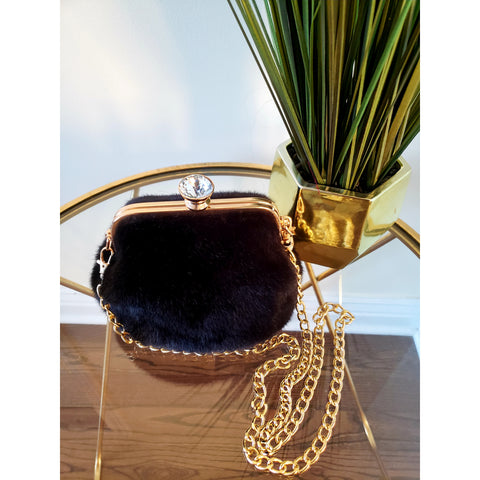 Black Faux Fur Crossbody - NEW