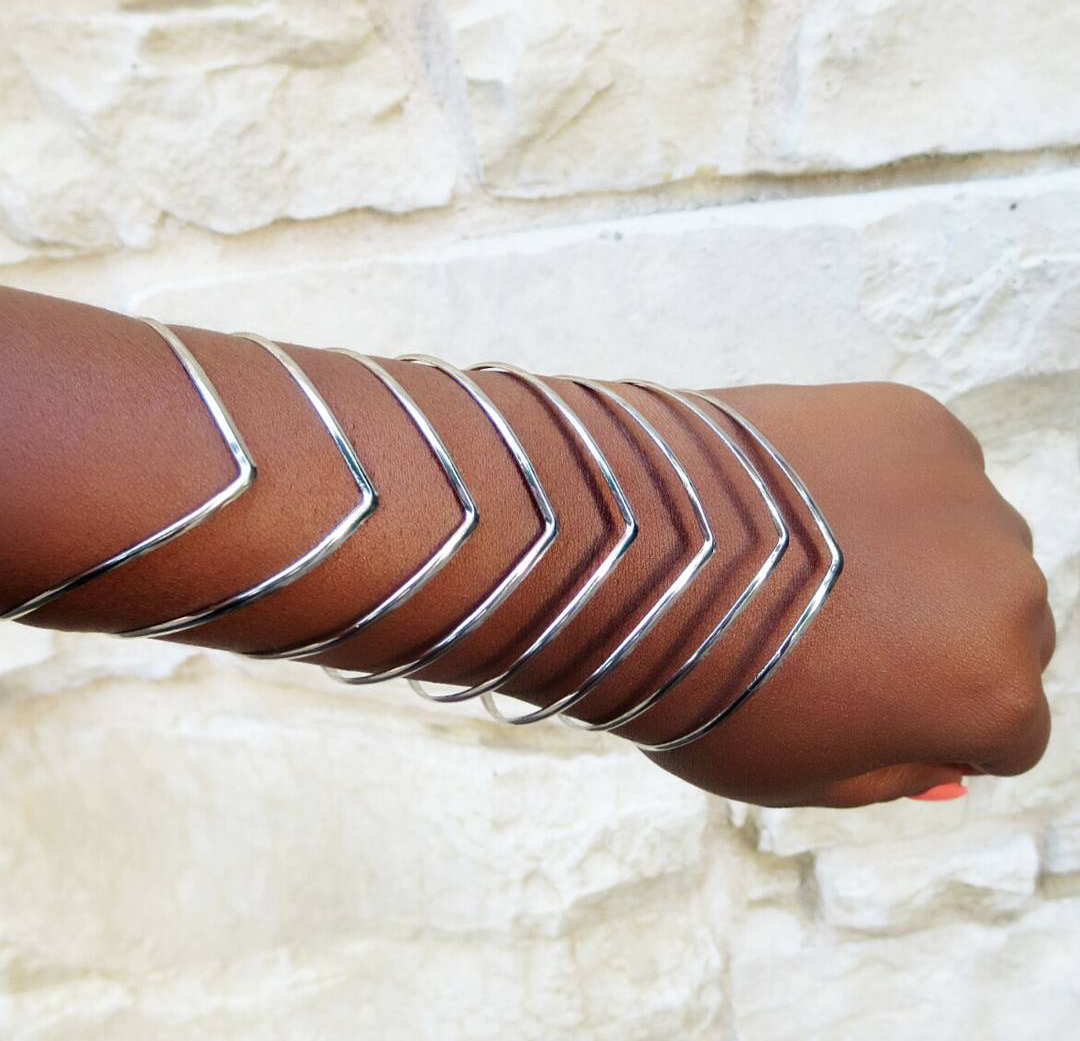 Metal Chevron Bars Cuff