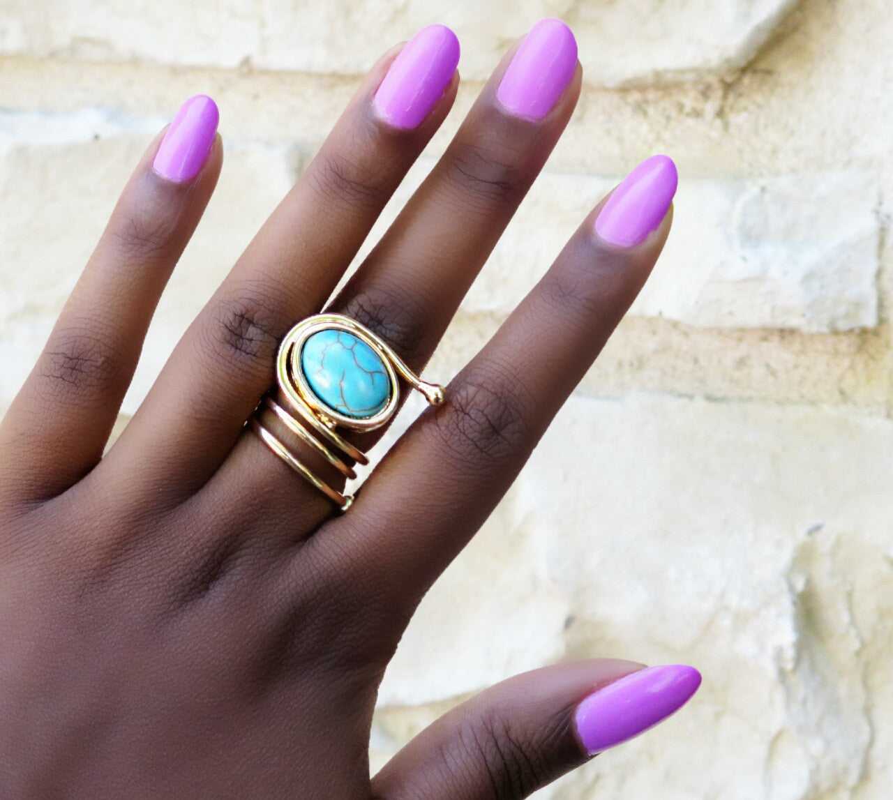 Precious Stone Coiled Statement Ring - Turquoise