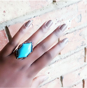 Turquoise Crystal & Stone Stretch Ring (OUT OF STOCK)