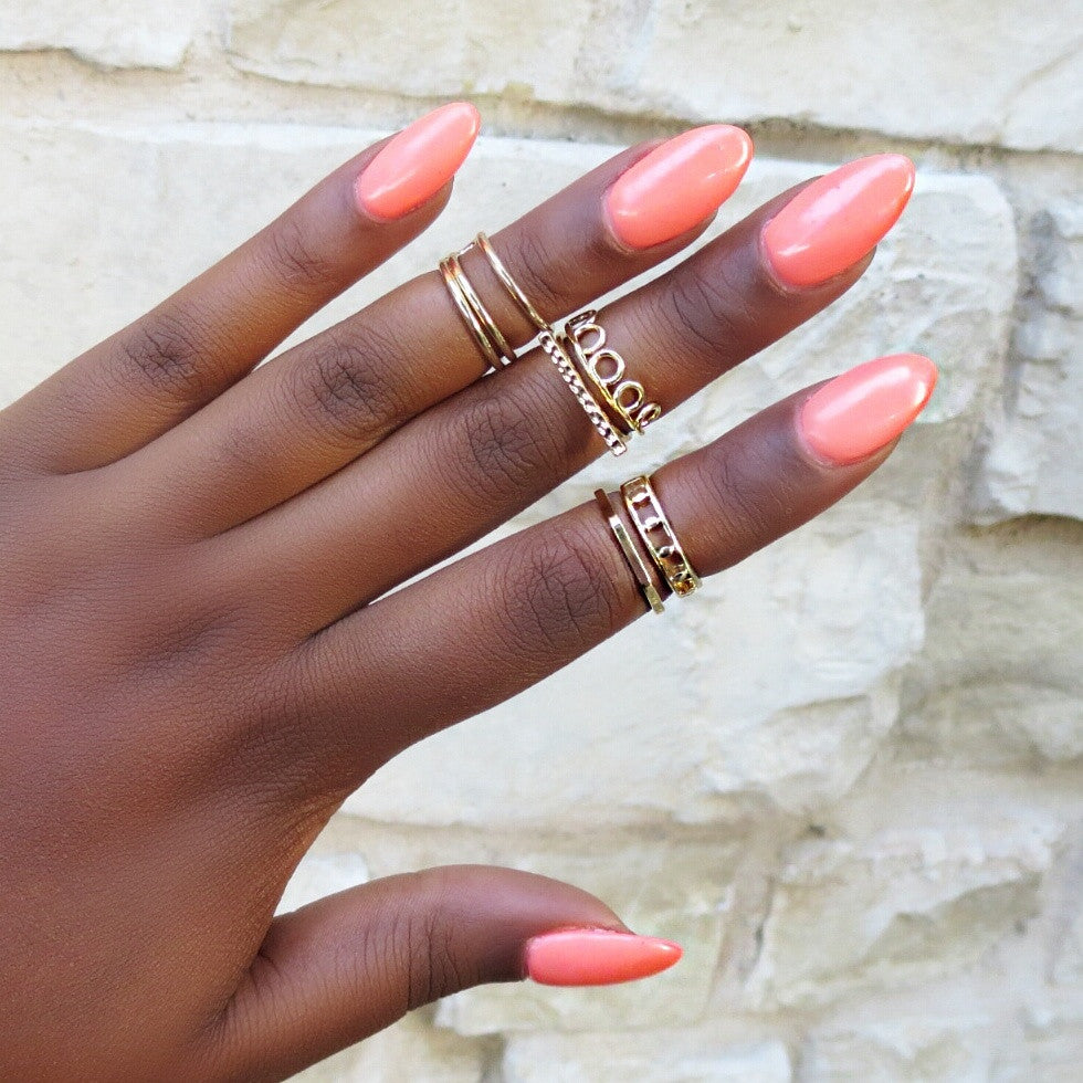 gold midi rings set urbanly chic