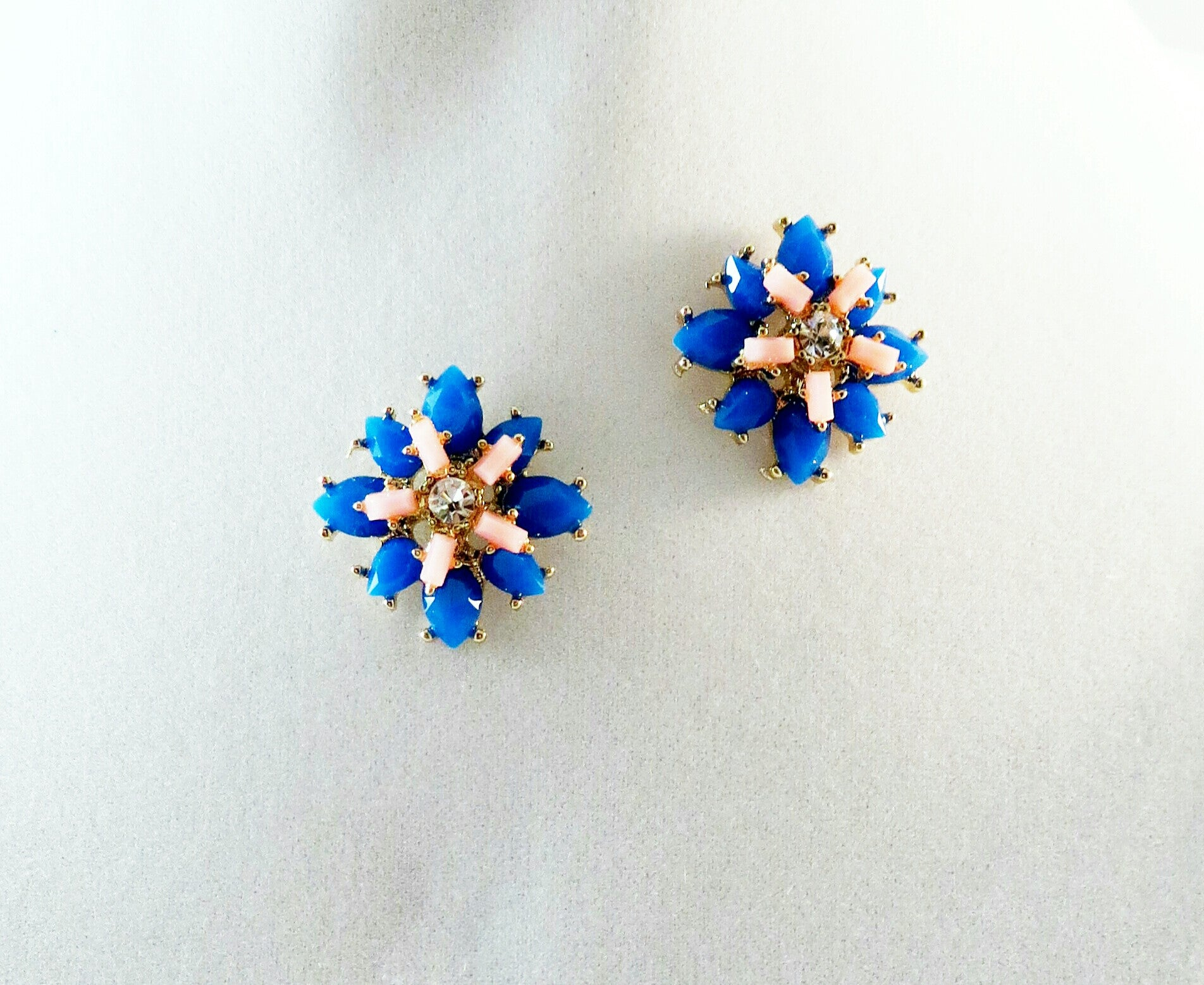 Blue and Pink Flower Studs (Out Of Stock)