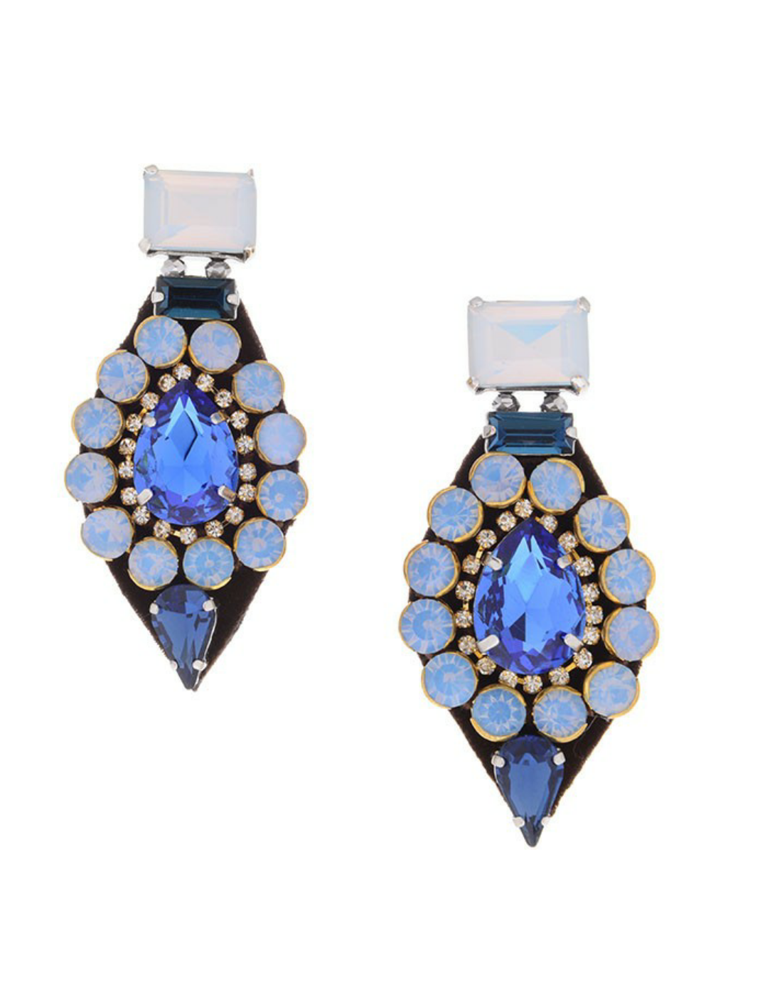 UC LUXE: Blue Floral Statement Earrings
