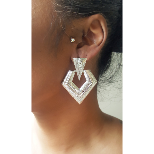 Textured Geometric Dangle Earrings (Silver)