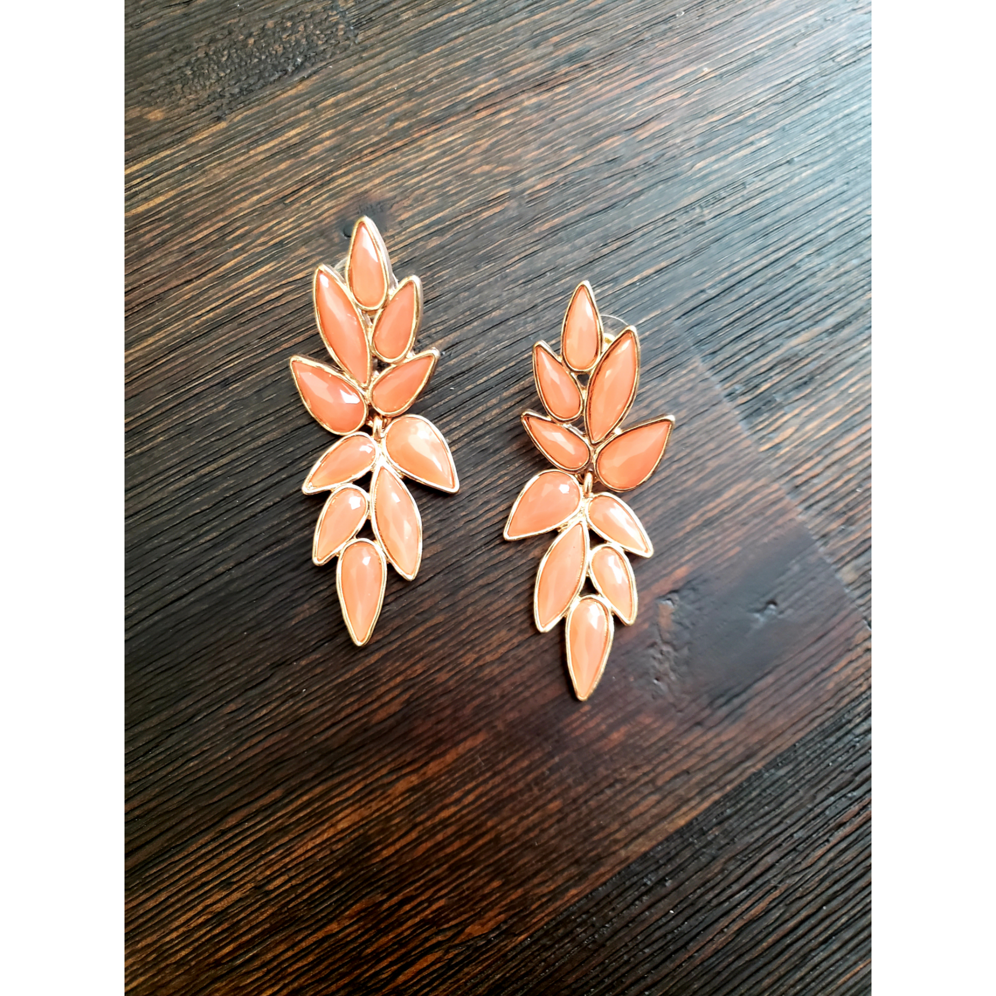 Coral Floral Stone Earrings